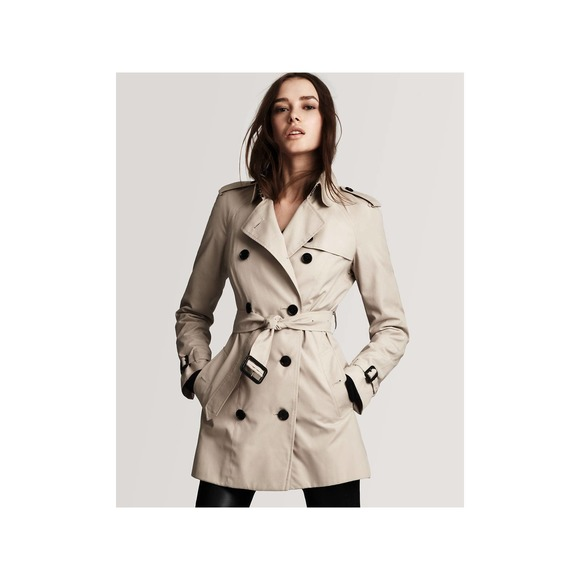 BURBERRY Double Breasted Short Trench Coat Taupe 2
